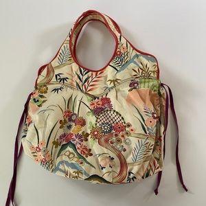 Lucky Brand Asian floral canvas hobo bag